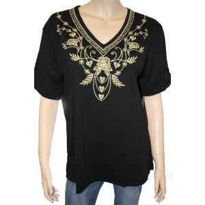 Fudayu Damen T-Shirt V-Ausschnitt