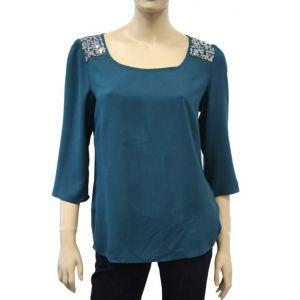 Fresh Made Damen Bluse mit Pailletten D7187Y10417A