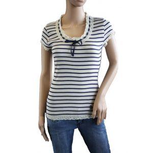 Sublevel Damen T-Shirt mit Spitze D1663G00557A