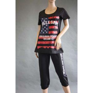 Uncle Sam Damen Wellness Zweiteiler Shirt und Caprihose