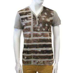 98-86 Herren T-Shirt V-Ausschnitt mit Druck - H1597W200300 -